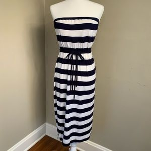 Navy blue and white striped tube dress